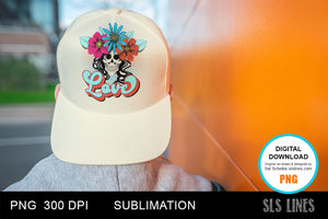 Retro Love Flower Skull Sublimation