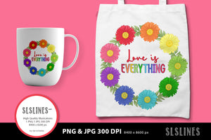Daisy Wreath - Love is Everything PNG sublimation