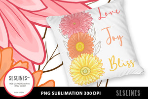 Pink & Yellow Daisy - Love Joy Bliss PNG sublimation