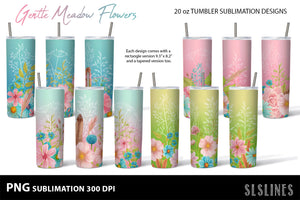 Skinny Tumbler Sublimations - Pink Meadow Flowers