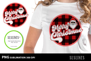 Merry Christmas Santa Red Buffalo Plaid PNG sublimation