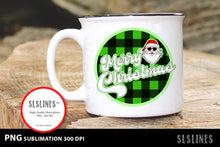 Load image into Gallery viewer, Merry Christmas Santa Green Buffalo Plaid PNG sublimation