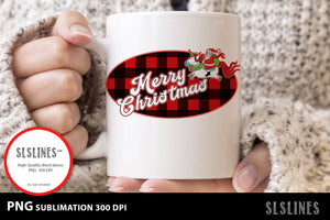 Merry Christmas Santa Red Buffalo Plaid PNG