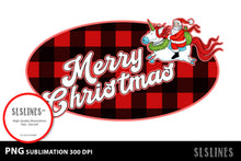 Load image into Gallery viewer, Merry Christmas Santa Red Buffalo Plaid PNG