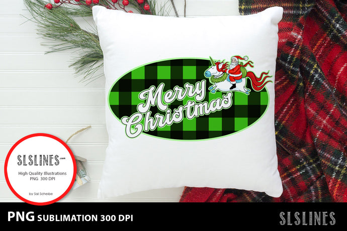 Merry Christmas Santa Claus on Unicorn  PNG sublimation