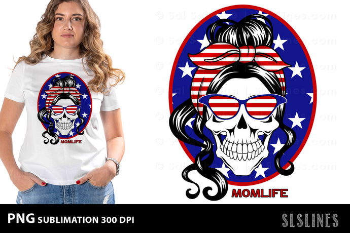 Momlife American Patriot PNG sublimation
