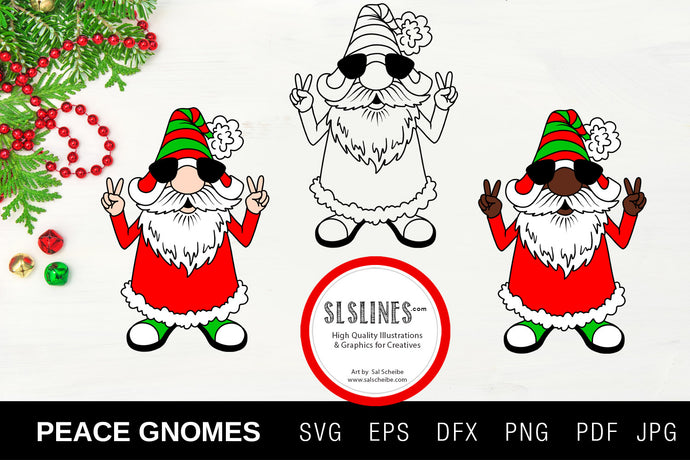 Christmas Gnome Peace Hippy SVG EPS PNG