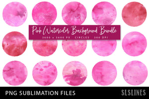 Sublimation Backgrounds - Watercolor Circles in Pink