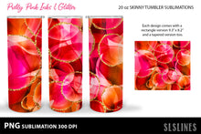 Load image into Gallery viewer, Skinny Tumbler Sublimation - Pink Inks & Glitter PNG