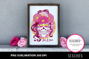 Joy & Love Flower Skull PNG sublimation Pink Yellow