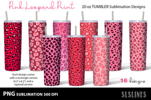 Skinny Tumbler Sublimation PNGs - Pink Leopard Prints