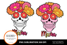 Load image into Gallery viewer, Mama Flower Skull PNG sublimation Pink & Orange
