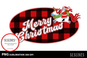 Merry Christmas Santa Buffalo Plaid Sublimation BUNDLE