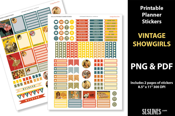 Printable Stickers: Planner Stickers Vintage Showgirl