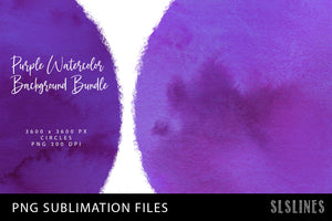 Purple Watercolor Circles Backgrounds for Sublimation & Prints