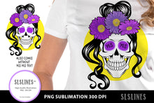 Load image into Gallery viewer, YES Flower Skull PNG sublimation Purple Yellow