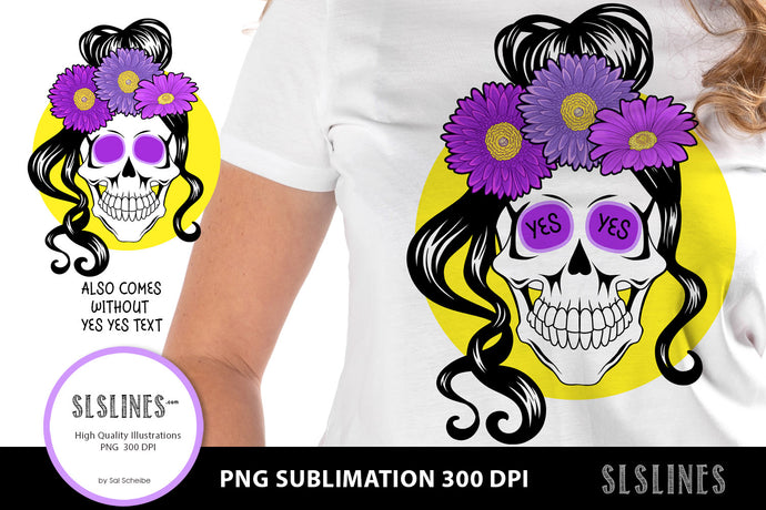 YES Flower Skull PNG sublimation Purple Yellow