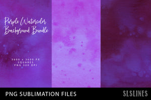 Purple Watercolor Squares Bundle PNG Sublimation