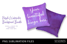 Load image into Gallery viewer, Purple Watercolor Squares Bundle PNG Sublimation