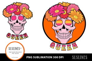 Queen Flower Skull PNG sublimation Pink & Orange
