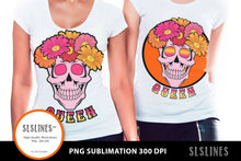 Load image into Gallery viewer, Queen Flower Skull PNG sublimation Pink & Orange