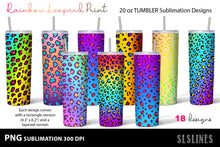 Load image into Gallery viewer, Tumbler Sublimation PNGs - Rainbow Leopard Print - LGBT PNGs