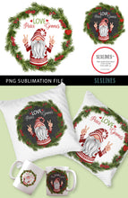 Load image into Gallery viewer, Christmas Peace Gnome Wreath PNG sublimation