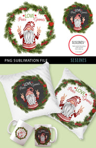 Christmas Peace Gnome Wreath PNG sublimation