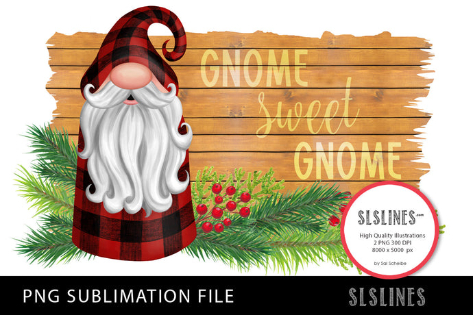 Christmas Gnome in Red Plaid PNG sublimation