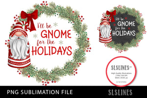 Christmas Gnomes Wreath Set PNG sublimation