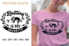 Load image into Gallery viewer, Resting Sloth SVG - Sleepy Sloth PNG