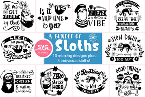 Sloth SVG Bundle - Relaxed & Fun Sloths PNGs