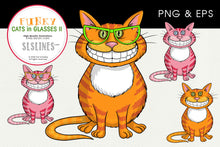 Load image into Gallery viewer, Grinning Cheshire Cats in Glasses Graphics EPS PNG