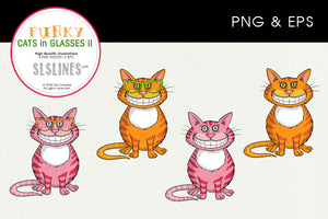 Grinning Cheshire Cats in Glasses Graphics EPS PNG