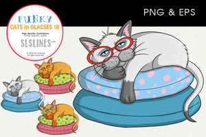Lazy Cat on a Pillow Graphics EPS PNG
