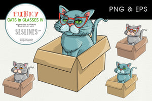 Cat in a Cardboard Box Graphics EPS PNG