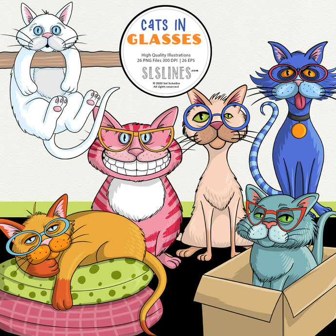 Cats in Funky Glasses Graphics EPS PNG