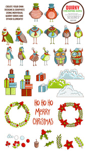 Quirky Christmas Birds Graphics EPS PNG