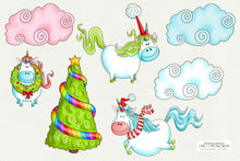 Load image into Gallery viewer, Christmas Unicorns with Clouds & Tree