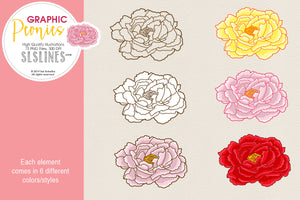 Pretty Peonies Clipart in Pink & Yellow