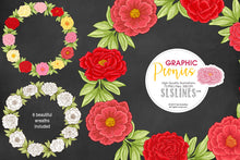 Load image into Gallery viewer, Pretty Peonies Clipart in Pink & Yellow