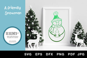 Christmas Snowman SVG EPS PNG