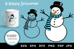 Happy Christmas Snowman SVG EPS PNG