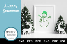 Load image into Gallery viewer, Happy Christmas Snowman SVG EPS PNG