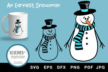 Load image into Gallery viewer, Earnest Winter Snowman in Hat & Scarf SVG