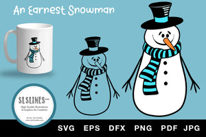 Earnest Winter Snowman in Hat & Scarf SVG