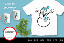 Load image into Gallery viewer, Set of Winter Snowmen SVG EPS PNG