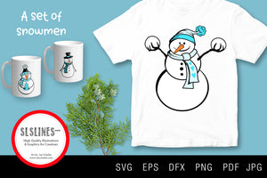 Set of Winter Snowmen SVG EPS PNG