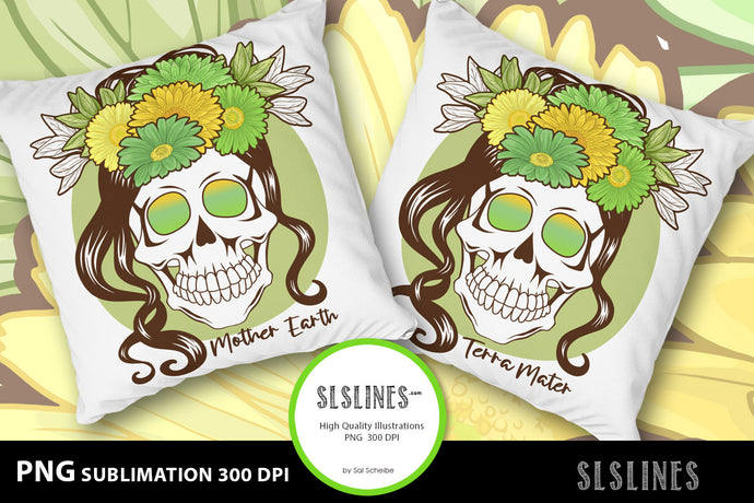 Mother Earth Flower Skull PNG sublimation Green & Brown