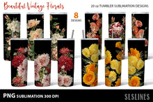 Load image into Gallery viewer, Skinny Tumbler Sublimation PNGs - Vintage Flower Set